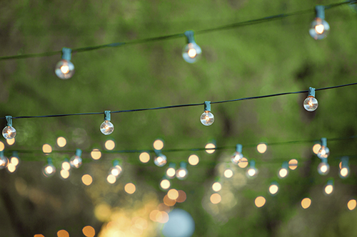 Decorative christmas lights for a back yard party