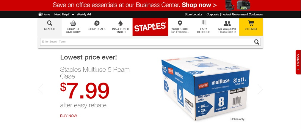 Staples Office Supplies Homepage