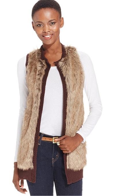 NY Collection Petite Cable-Knit Faux-Fur Vest
