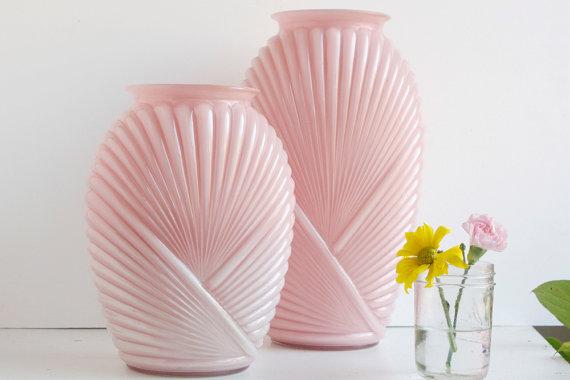 Etsy pink glass vase home decor
