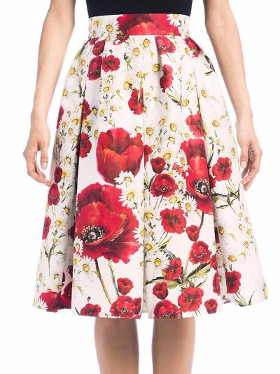 Dolce & Gabbana Pleated Floral-Print Skirt