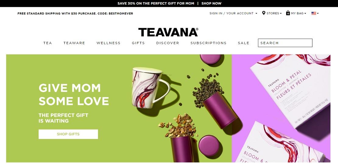 Teavana.com homepage