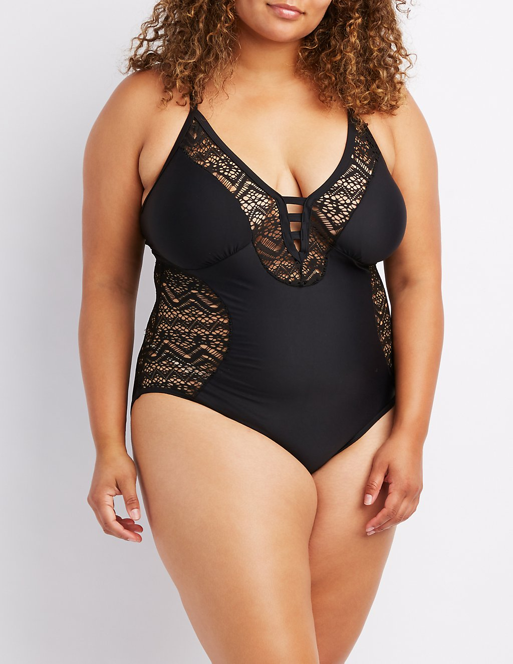 Crochet-Trim One-Piece Swimsuit