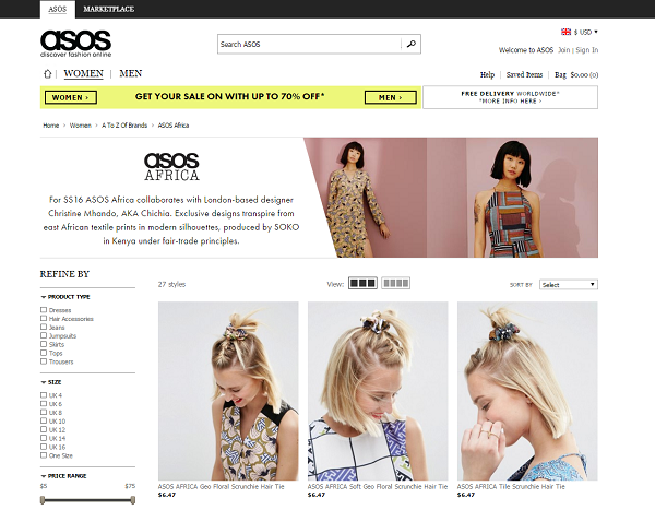ASOS Africa page