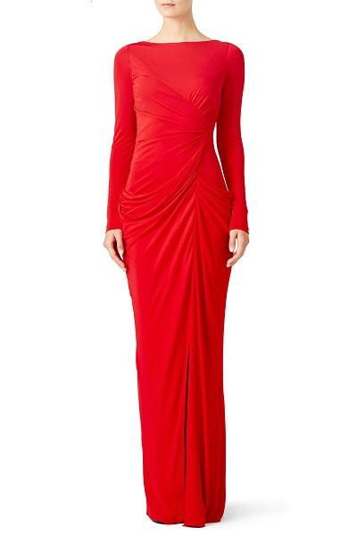 Badgley Mischka gown in red