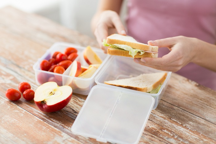 Woman packing her own lunch
