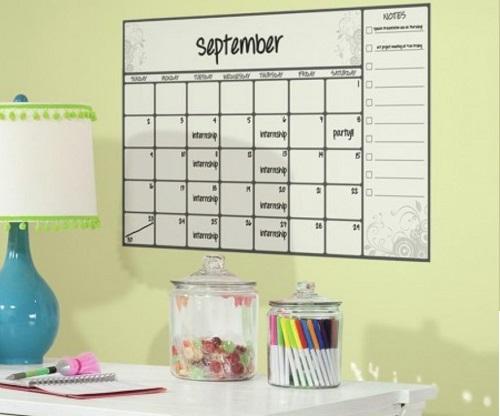 Scroll Dry Erase Calendar Wall Decal