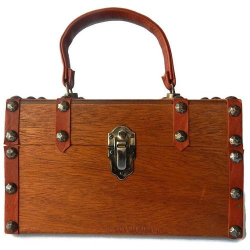 wooden box vintage purse