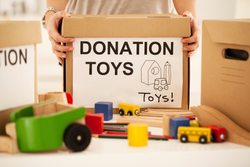A box of toys for donation