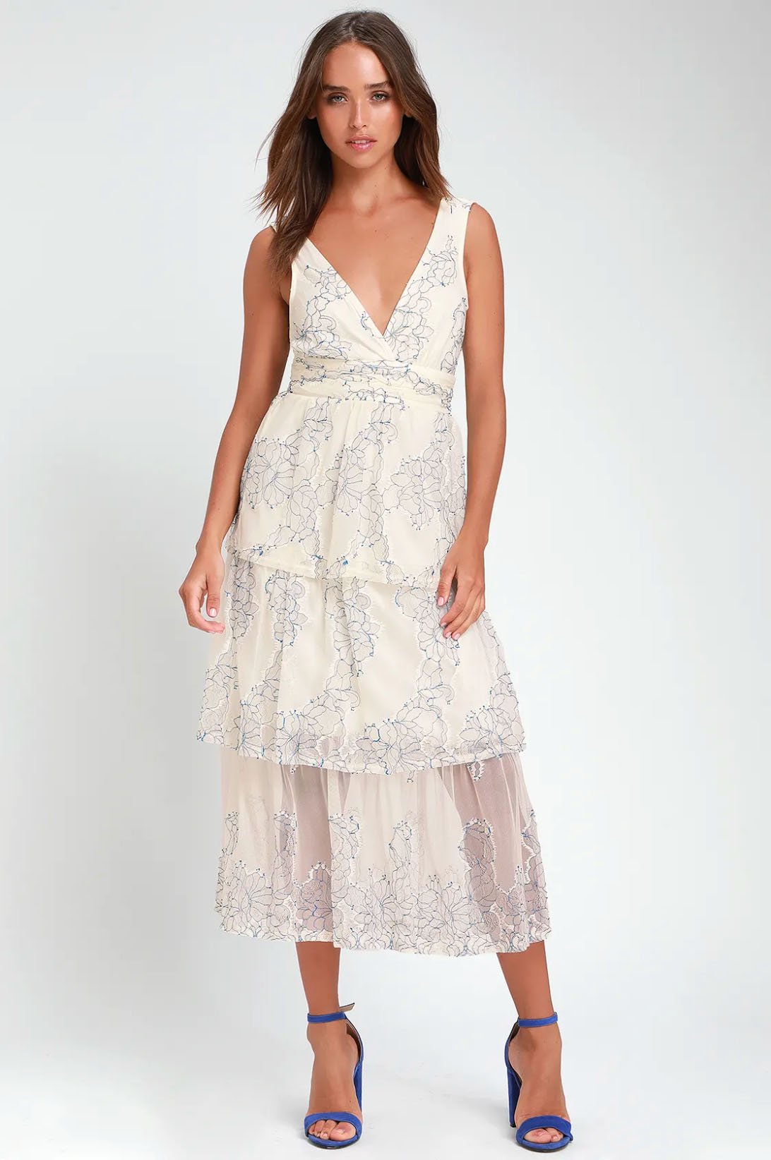 Lulu's VIVIANA BLUE AND WHITE EMBROIDERED LACE MIDI DRESS