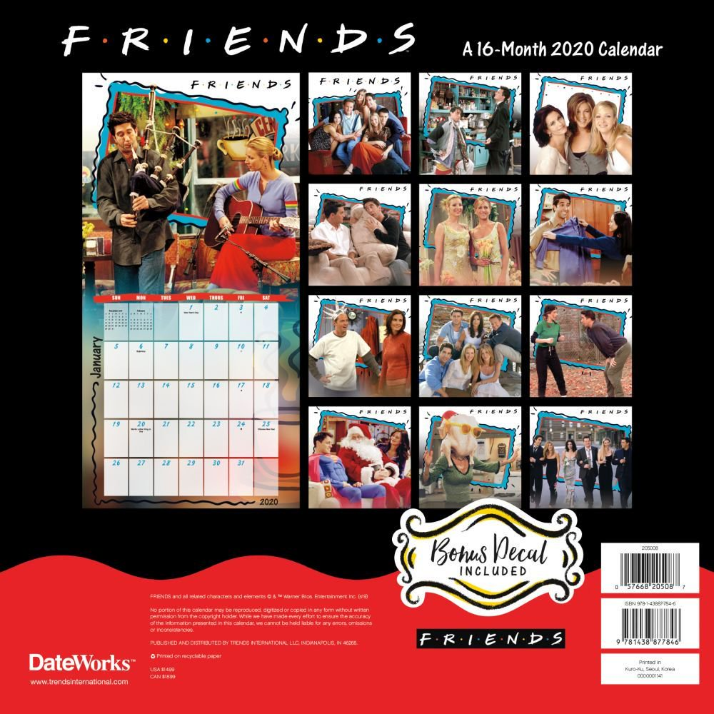 2020 Friends Exclusive Decal Wall Calendar
