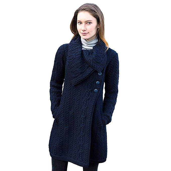 West End Knitwear Aran Crafts Merino Wool Chunky Knit Coat With Buttons