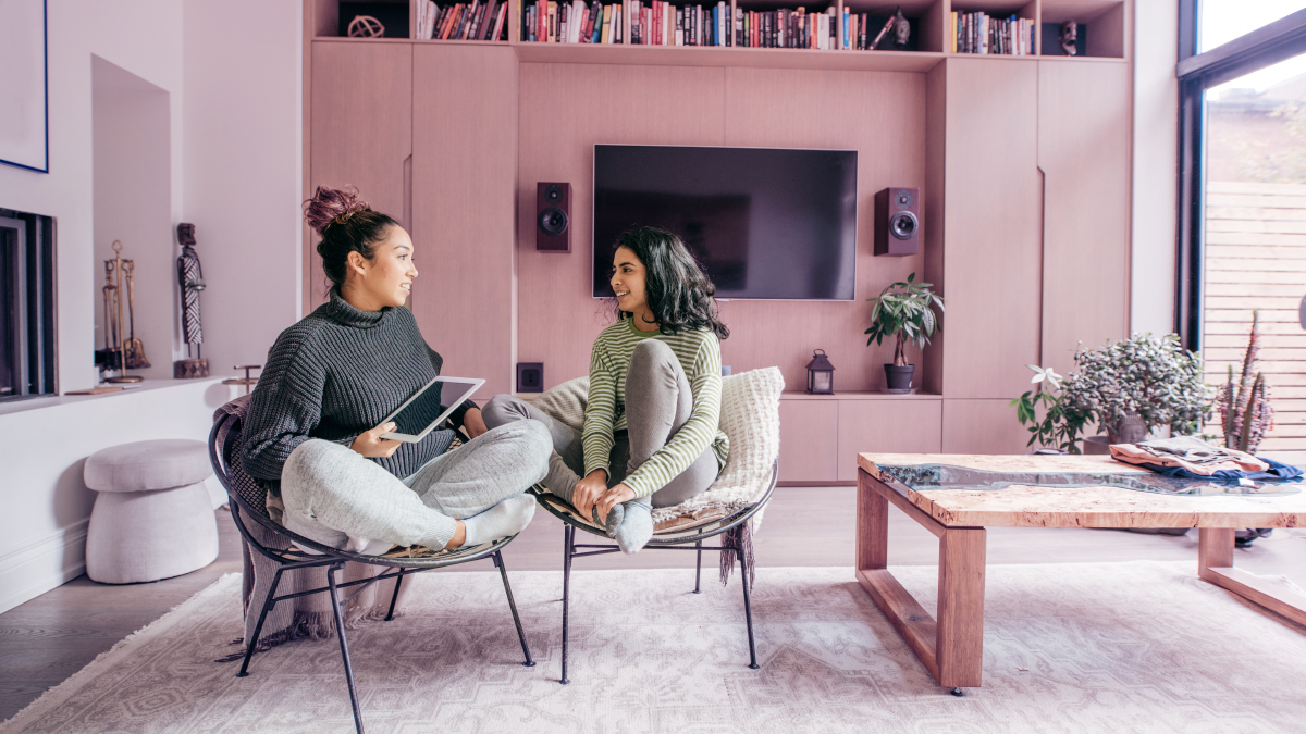 Girls in a living room